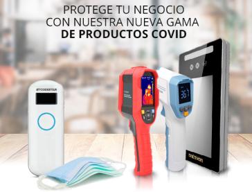 Cámaras termográficas, termómetros faciales, maascarillas, dispositivo de desinfección, mamparas, guantes