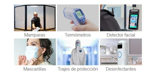 Cámaras termográficas, termómetros faciales, maascarillas, dispositivo de desinfección, mamparas, guantes-COVID-19