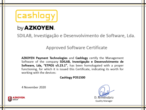 Certificado homologación Cashlogy-Azkoyen para Etpos-Malaga-Cajones automáticos-Gestion de cobro y efectivo-AZKOYEN MALAGA- CAJONES AUTOMATICOS