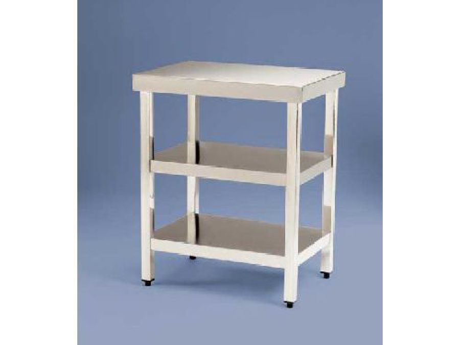 MI Mesa total de acero-inox para cortadora 2 estantes